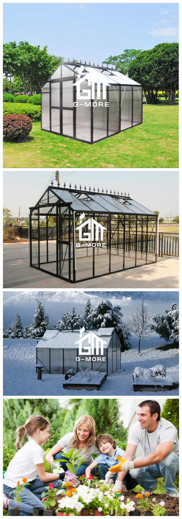 G-MORE Premium Imperial Series, 8'x8', Optional PC/Glass Glazing, Freely Extended Easy DIY Glasshouse/Sun Room (GM34404-B)