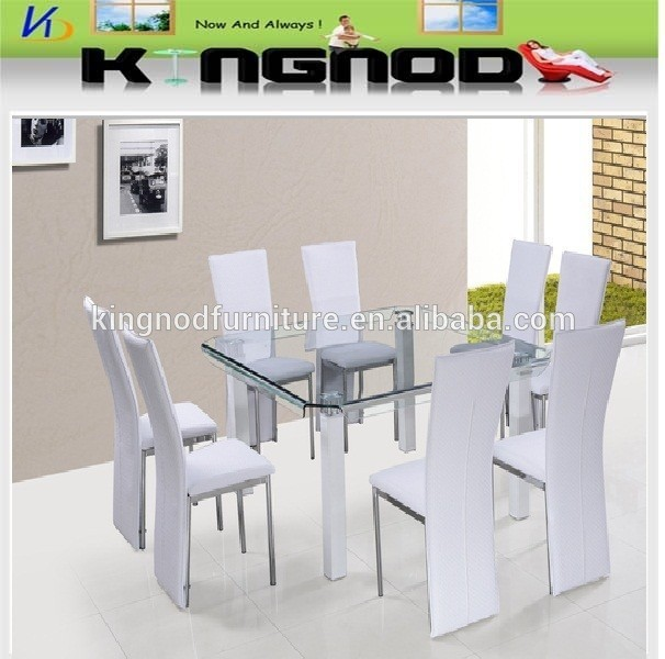 Philippine Dining Set 8 Seater Curve Glass Table Chinese Supplier