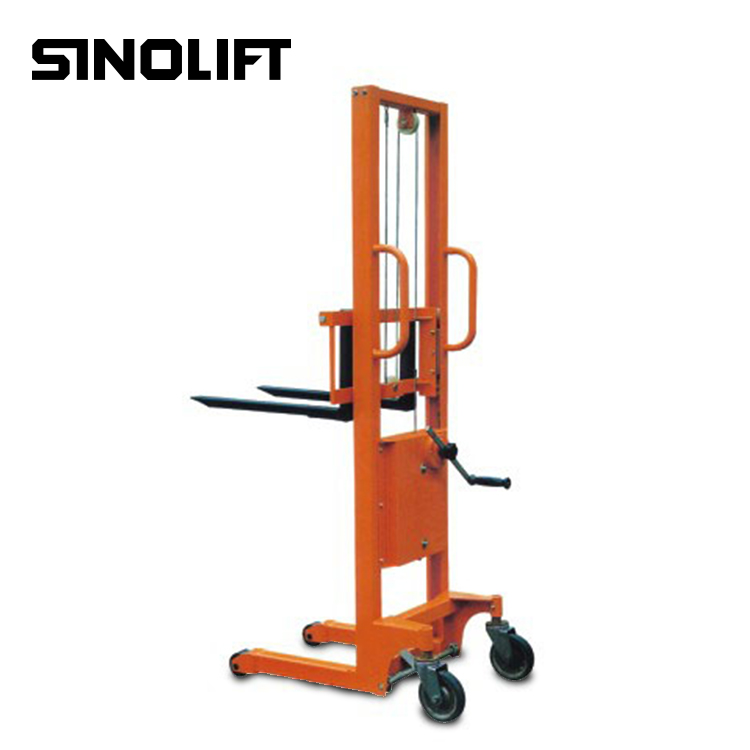 Sinolift CYL Series light duty mini high quality hand winch stacker with adjustable forks
