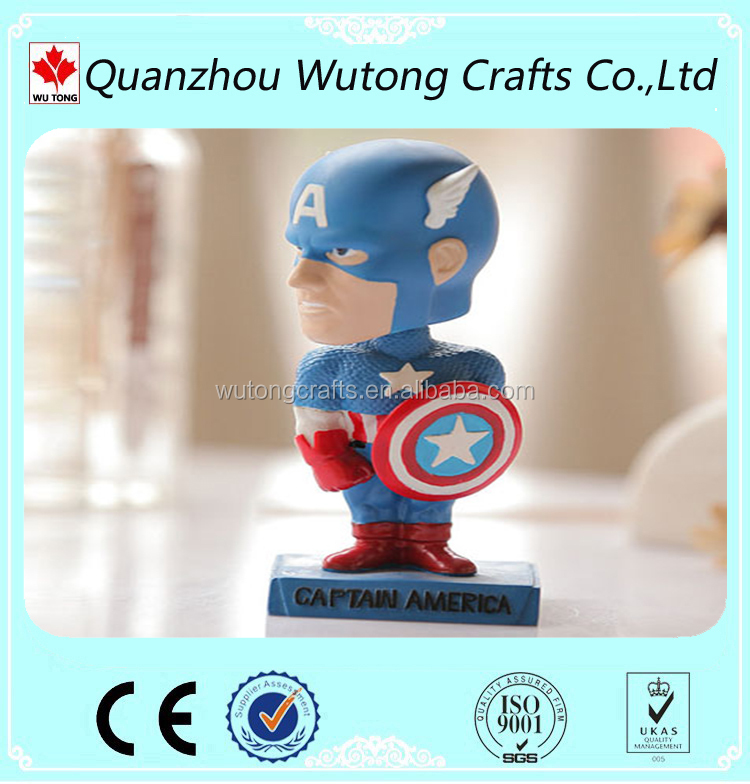 Miniature Gift Resin Decor Custom Bobble head Captain America souvenir