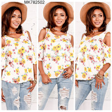 wholesale new design lady tops women blouse 3/4 sleeve shirts