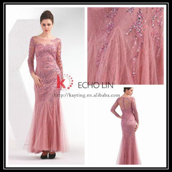 encantador 2015 turco vestido de noche exquisito china manga larga ...