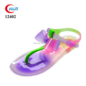 hot selling durable ladies pvc colorful jelly sandals