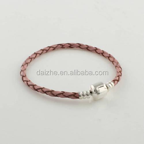 nueva moda pink individual pulsera trenzada de cuero con plata de ley broche clips granos