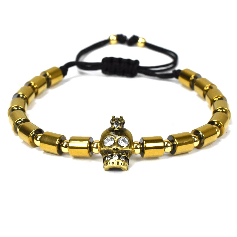 Hot Design Stylish Hematite Beads Gold Skull Head Men Bracelet