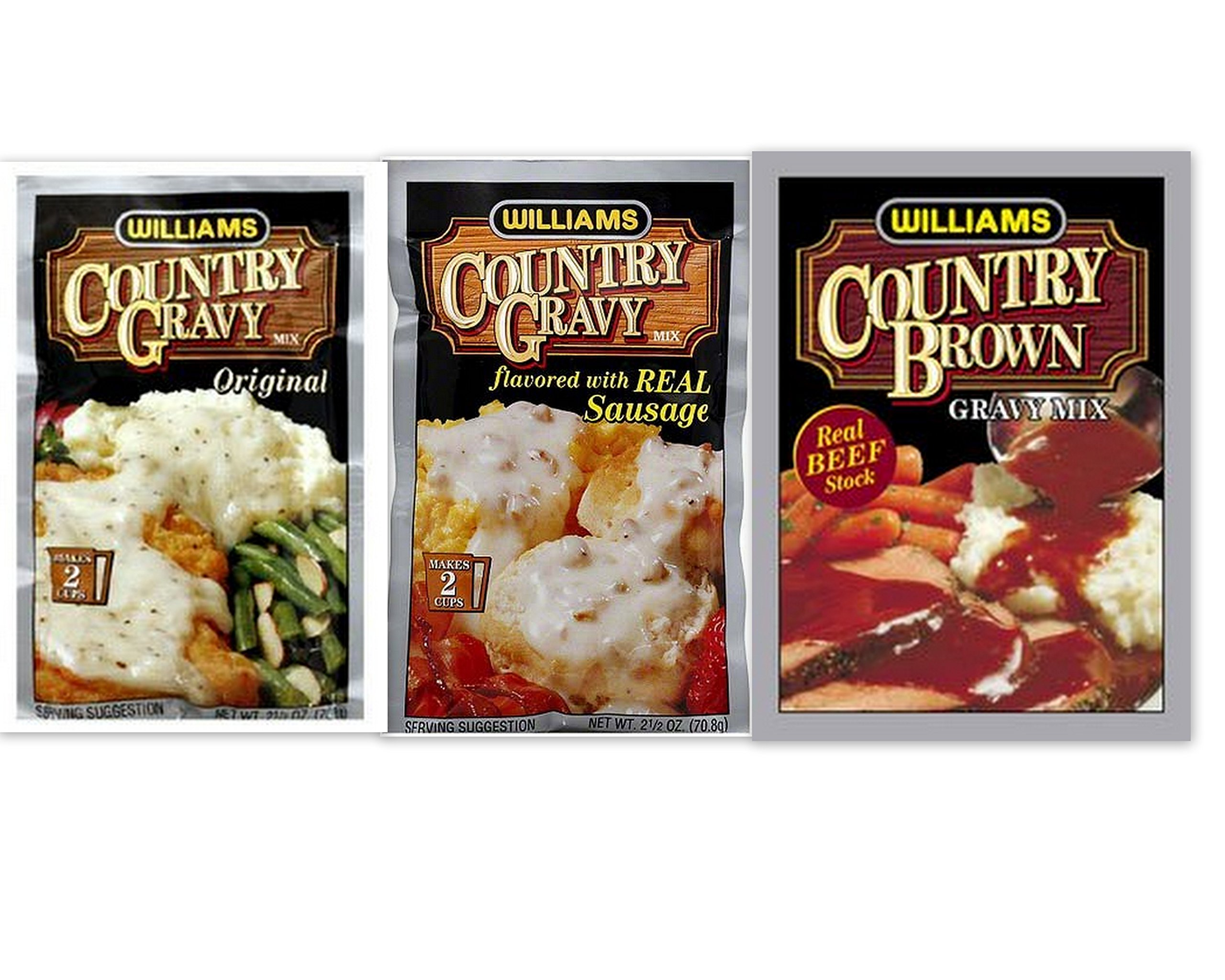 Williams Country Gravy Variety Bundle includes 2-Pack Country Gravy mix flavored with Real Sausage, 2.5 oz + 2-Pack Country Gravy Original Mix, 2.5 oz + 2-Pack Country Brown Mix, 1 oz