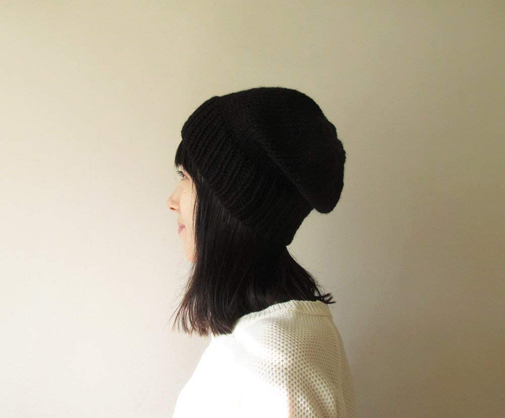 Black Slouchy Hat, Hand Knit Chunky Slouch Hat, Women Knit Hat, Mens Slouchy Beanie, Wool Blend Hat, Seamless Winter Beanie, Made to Order