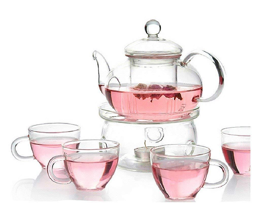 Moyishi Clear Heat Resistant Borosilicate Glass Teapot Tea Set & Infuser 400ml and 4 Handle Tea Cups