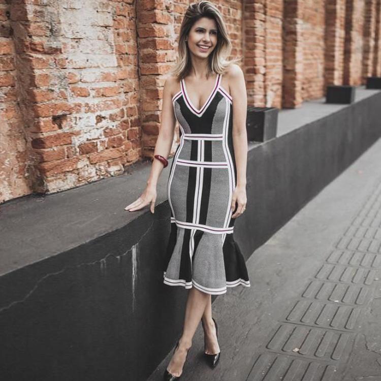 Neueste Design Frauen Spaghetti Strap Sexy Grau Meerjungfrau Bodycon Verbandkleid Rayon
