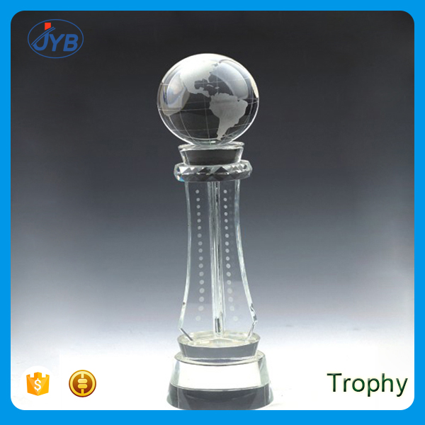 Free Engraved trophy globe shape sandblasting glss awards and trophy
