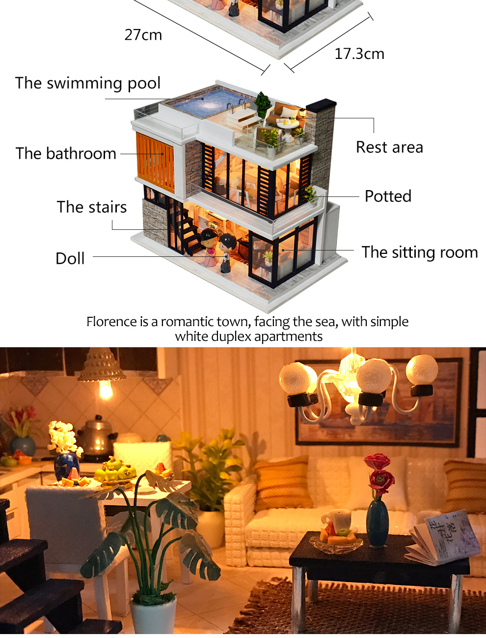 Christmas gift dust cover mini furniture kids toys diy doll house wooden miniature,wooden toy doll house