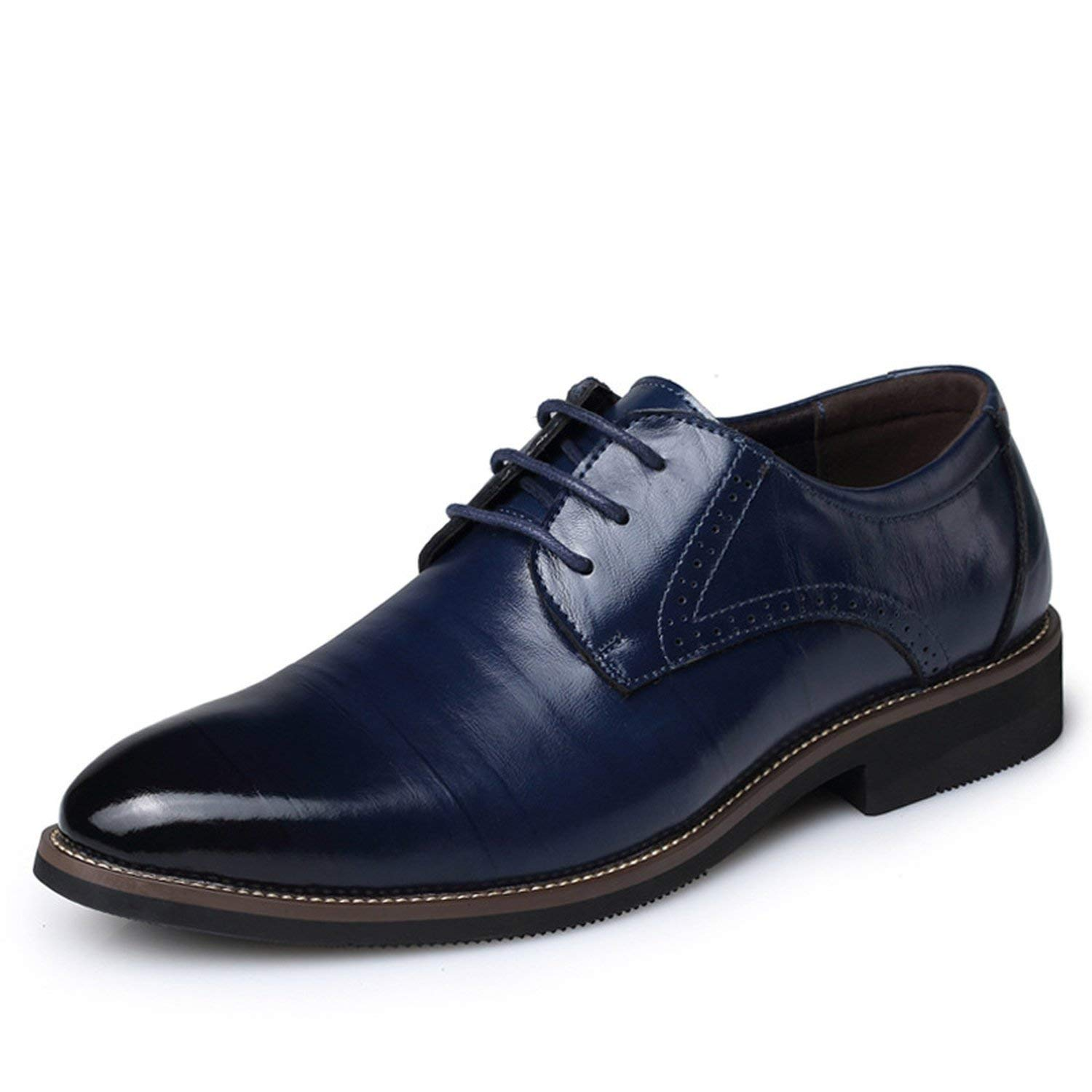 Memoriesed Big Size 37-48 Oxfords Leather Men Shoes Fashion Casual Pointed Top Formal,Blue,6.5