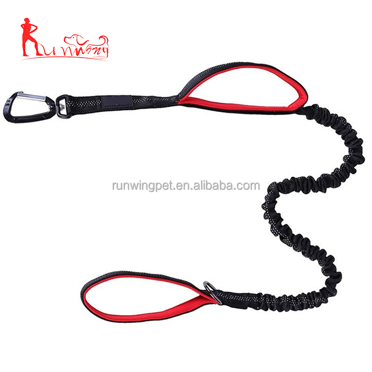 Retractable Dual Handles Dog Lead - Zero Shock Dog Bungee Leash with Reflective Stitching