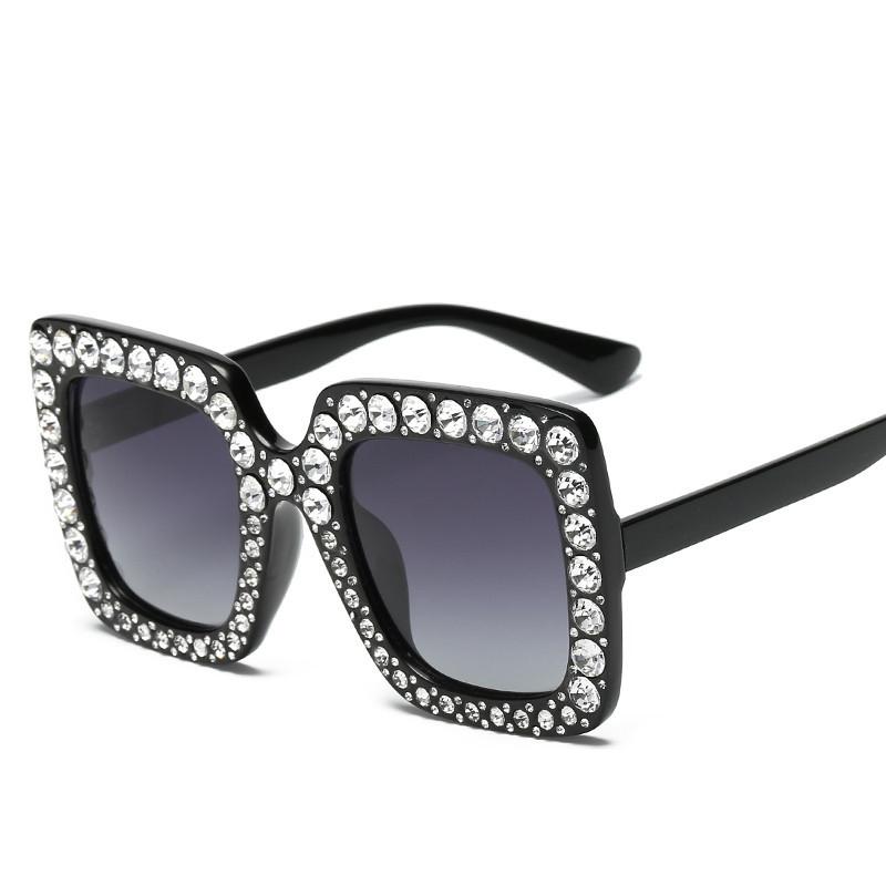 6ae3c74d9fef6 Decoração De Cristal De Luxo Oversize GUVIVI Quadro Mulheres óculos de Sol  Quadrados Senhoras Da Moda