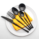 New style western dinner knife fork and spoon set stainless steel black handle flatware cutlery set