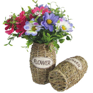 Eco-friendly indoor decorative artificial plant rattan flowers basket