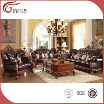 High End Antique Sofa, Living Room Wooden Antique Sofa Set A89