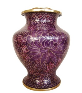 Wholesale P158 Good and Cheap Purple Cloisonne Cremation Urn Containers for Ashes