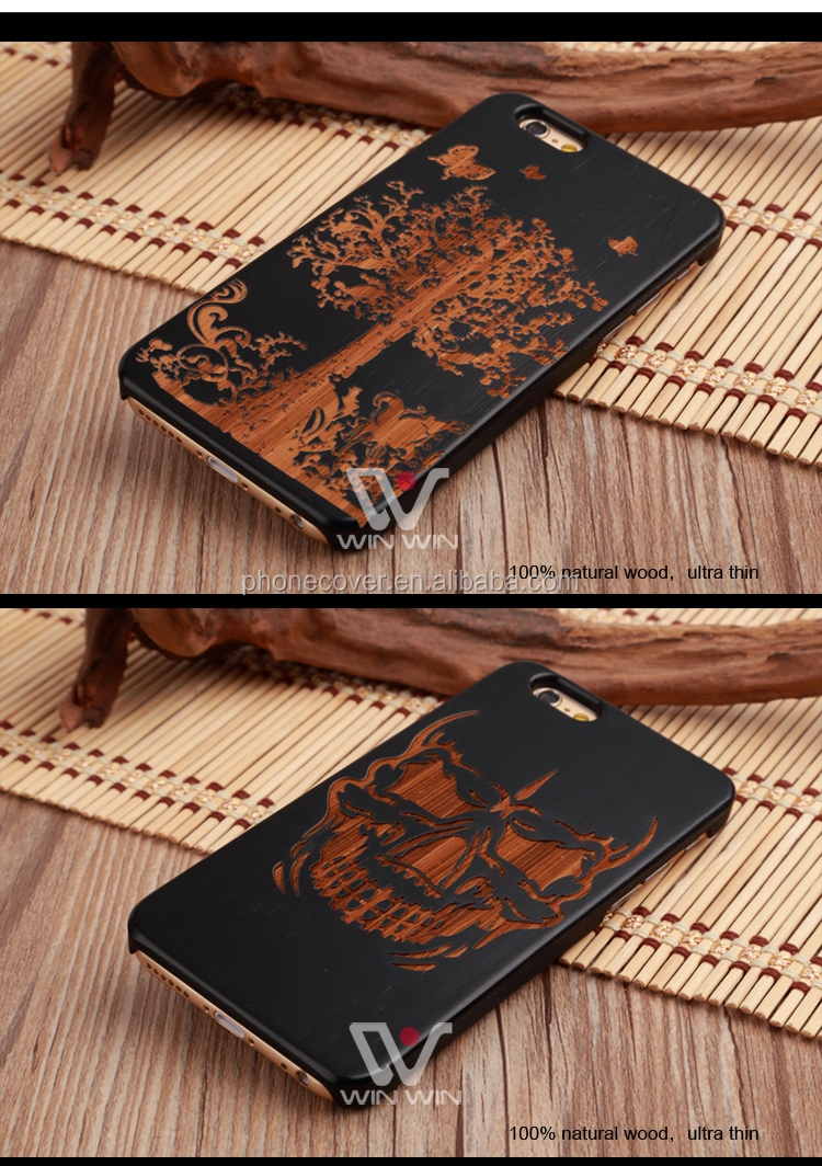 Black Bamboo wooden laser engraving mobile phone case for iphone 6, wood cell phone cover,mobile phone accessories