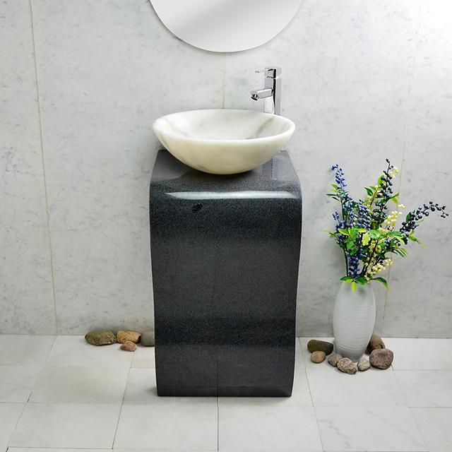 Well Designed Pedestal Sink Basin Outdoor Natural Marble Design Black Bathroom  Stone For Indoor