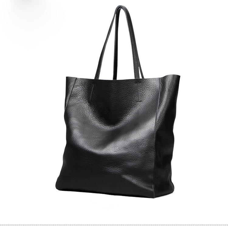 2017 OEM fashion lady black leather tote bag women hand bag brands ...