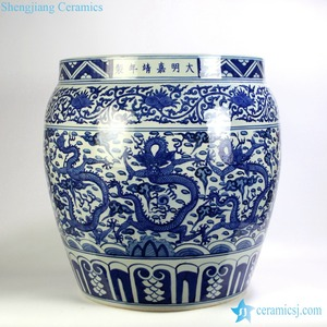 RYYC08 Giant hand drawing Chinese dragon in cloud porcelain fish pot