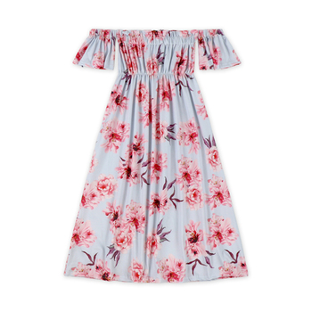 Cheap little girls off shoulder maxi party dress Vocation Japanese And Korean Summer One-Shoulder Beach Floral Dresses For Girls