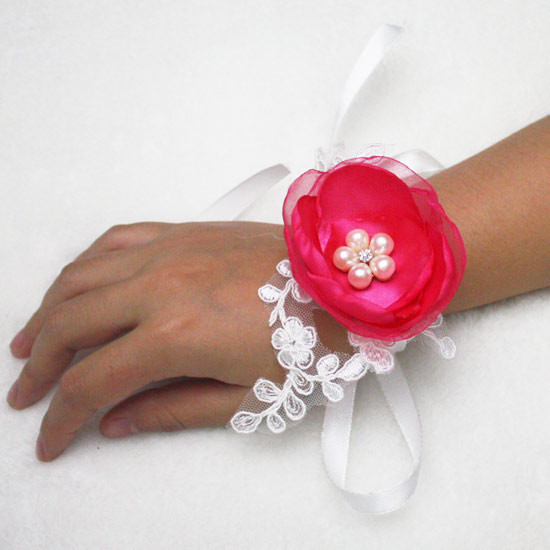 6 Colors Artificial pearls crystal Lace Wedding Bride Bridesmaids Hand Wrist Corsage Flowers
