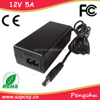 Factory Price 60w 12v power supply for car stereo 5a ac dc adapter with CE ROHS FCC