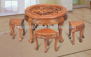 Exquisite Wooden Carved Table Top,Chinese Antique Solid Wooden Dinning Room  Set,Wooden Dinning