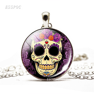 Sugar Skulls Necklace Mexico Folk Art Sugar Skull Glass Dome Pendant Chain Necklace for Day of the Dead Gift