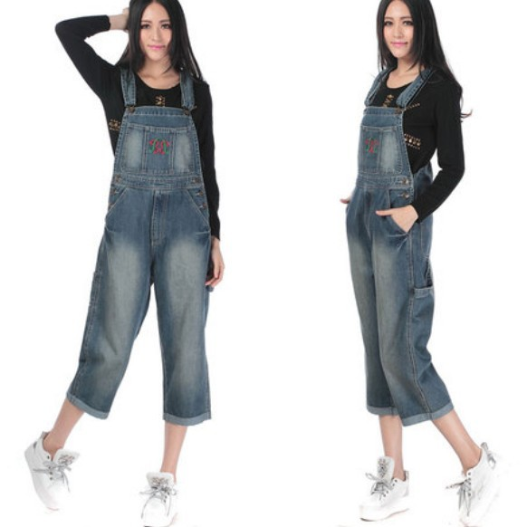 436fca8a058c Get Quotations · Free Shipping 2015 Embroidery Fashion Capris Ladies Romper  Pants Women High Quality Denim Jeans Loose Plus