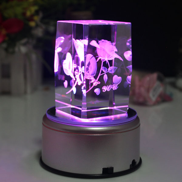 Crystal Rose Cube Wedding Favors With Led Light Base