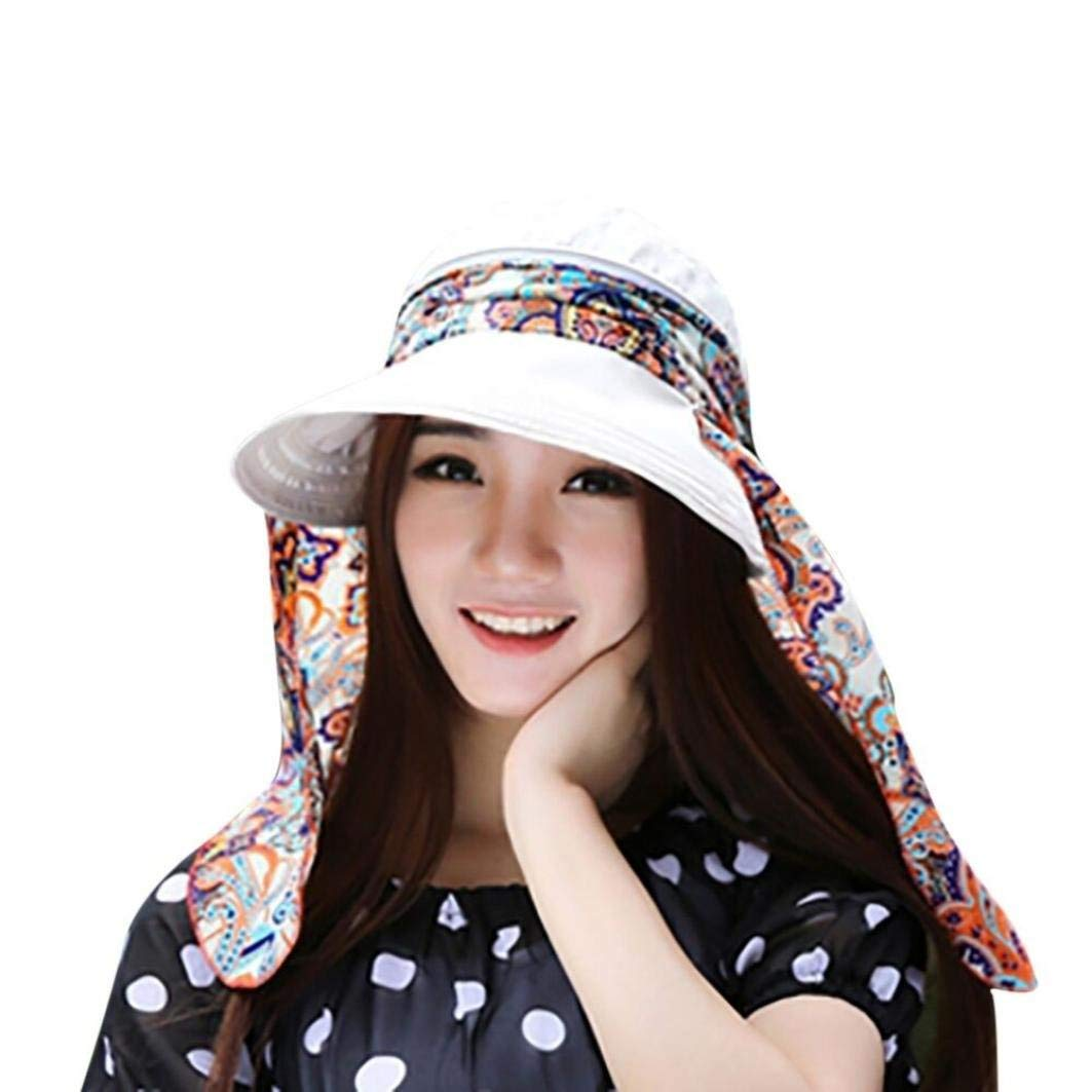 933a10b0e58 Get Quotations · Women Lady Foldable Roll Up Wide Brim Cap Holiday Visor  Hats UV Protection Summer Beach Sun