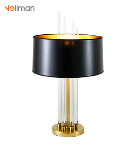 Vellman Crystal Beige Metal Cloth Bedside Table Lamp For Bedroom