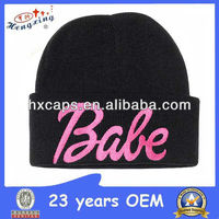 Embroidered black hat pink logo knitted beanie for girl