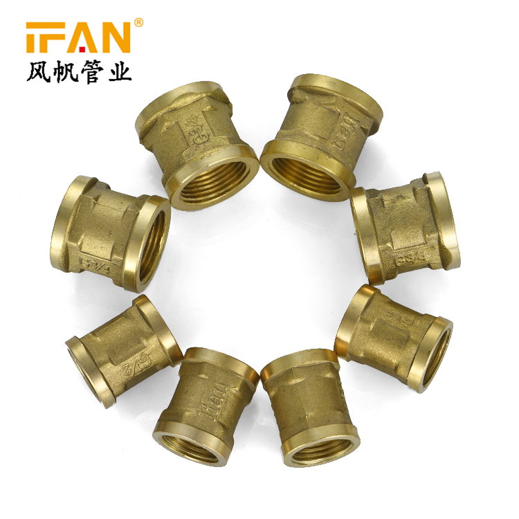 Manufacturer Wholesale 1/2 - 2inch Brass Female Thread Coupling Brass Copper Pipe Fitting Socket Brass fitting
