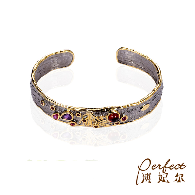 Trendy Charm Folk-custom Style Plated Gold Big Amethyst  Bracelet,Bangles With Nano Green Spinel
