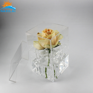 Naxilai Rainbow Rose Box Dry Rose Box Acrylic Flower Box With Drawer with custom package