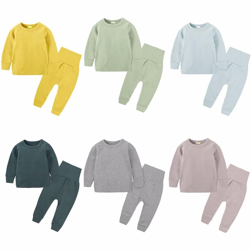 children clothes set 2 piece kids pajamas autumn winter pure color kids cotton pajamas