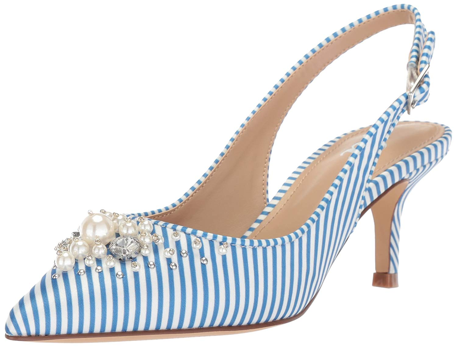efb07cde59c Get Quotations · The Fix Women s Felicia Slingback Kitten Heel Pump with  Faux Pearls