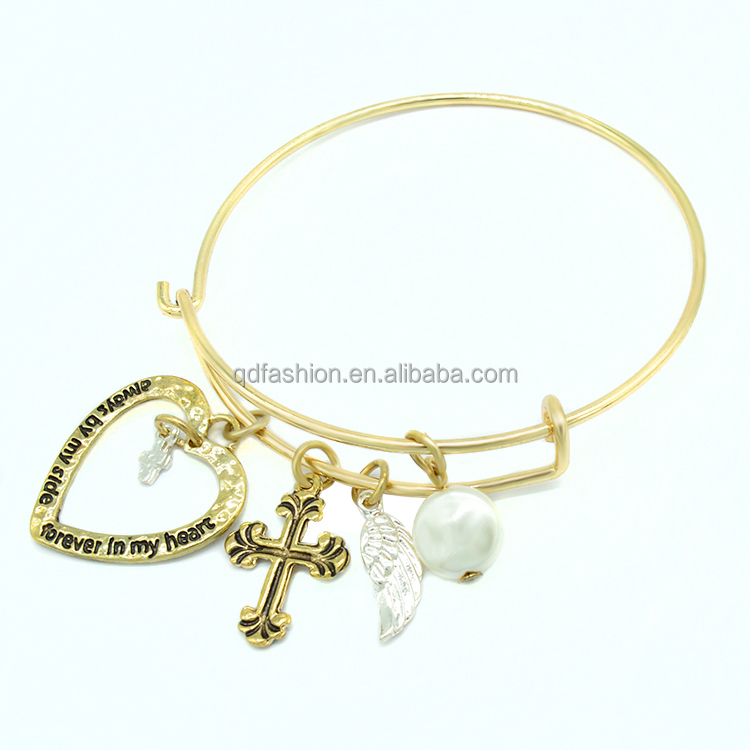 Adjustable wire wholesale angle wing love heart pearl pendant cross gold bangle bracelet
