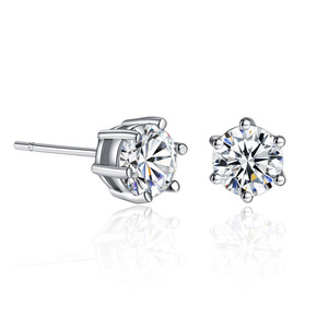 Six Claws 6mm 0.5ct Stellux CZ Platinum plated Stud Earrings Jewelry Crystal Cubic zirconia earrings Wholesale