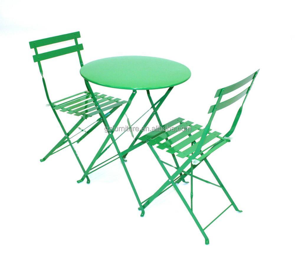 3 Pices En Mtal Pliant Plein Air Patio Jardin Bistro Table Et Chaises Ensembles Balcon