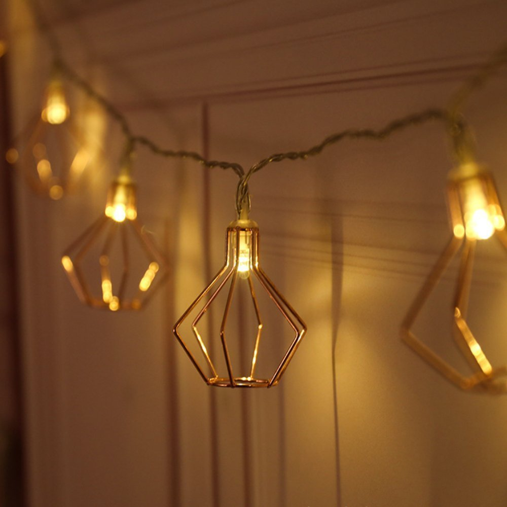 Lings moment Rose Gold Wall Decor Metal Geometric 30 LED Bedroom Fairy Lights USB Battery Powered Metal Cage String Lights for Wedding Party Indoor Rose Gold Party Bridal Shower Birthday Party