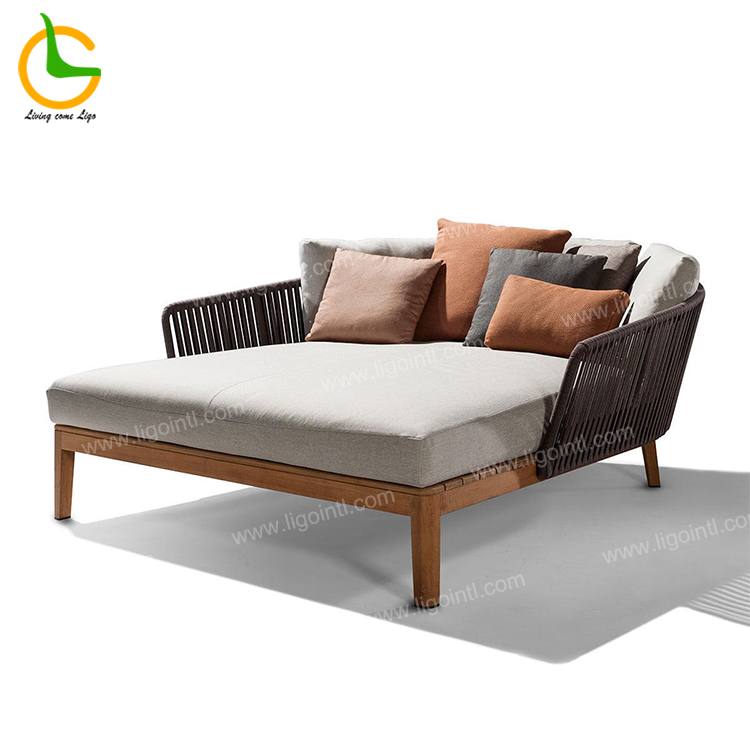 New design luxury high end waterproof hote pool king size teak outdoor patio furniture daybed