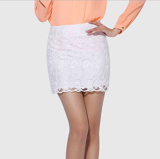 d82494f 2016 korean elegant women white short skirts office lace skirt