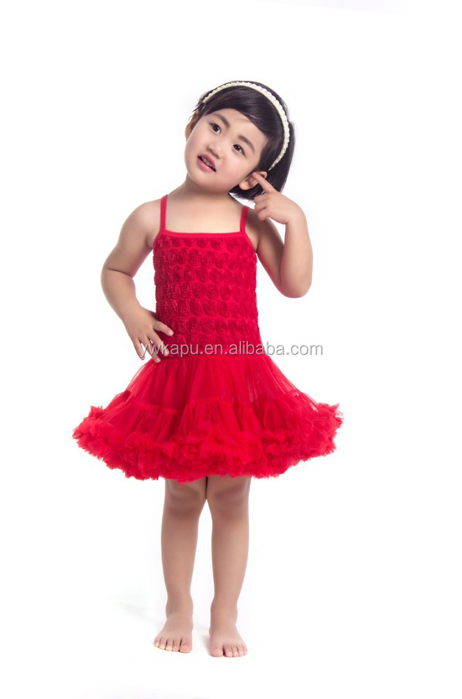 2015 Fashion Princess Rose Flower Petti Dress with Rosette Around the Top Party Dance Wear Baby Girls