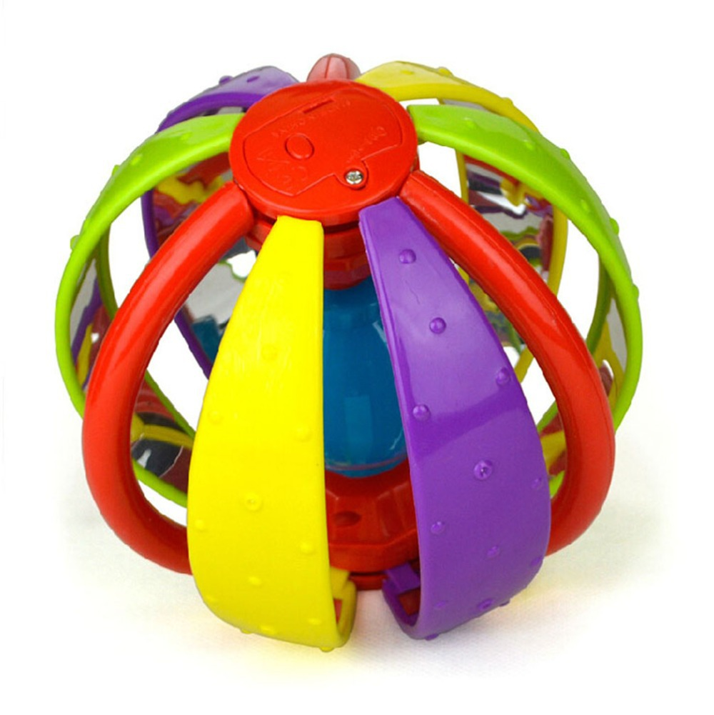 Plastic Baby Rattle balls Ring Bells Hand Shaker for Toddlers Spin Activity Play Balls with Music and Light Early Education Toy