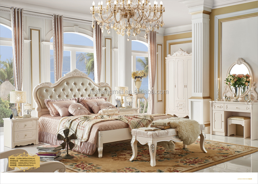 White Color Customised Luxury King Bedroom Sets Bed Wardrobe ...